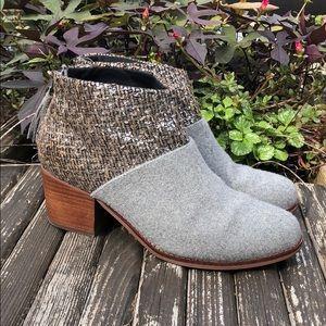 Toms Boucle Leila Bootie SZ 8 Gray Wool Tassel